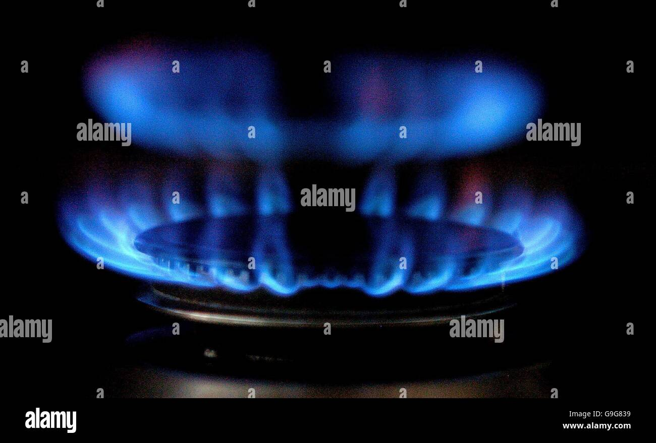 A generic view of a gas ring as millions of UK homes are facing higher gas bills as the latest price increases from - Stock Image