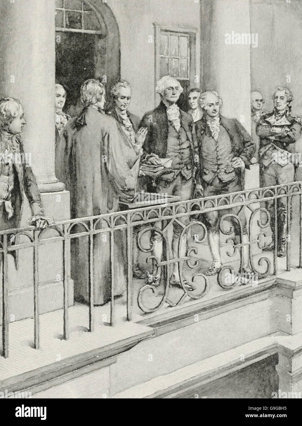 George Washington taking the oath as President, New York City, 1789