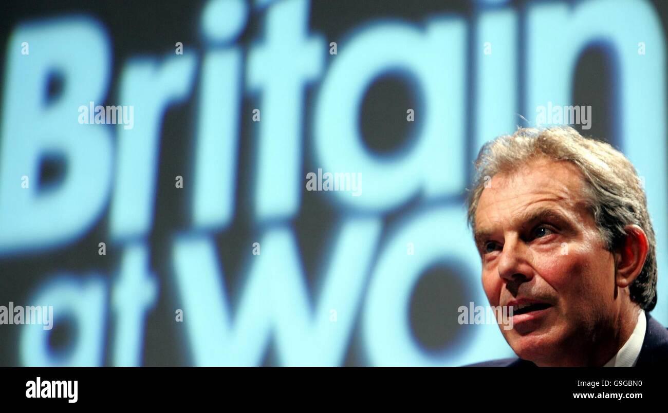 British Prime Minister Tony Blair addresses the Trades Union Congress in Brighton. - Stock Image