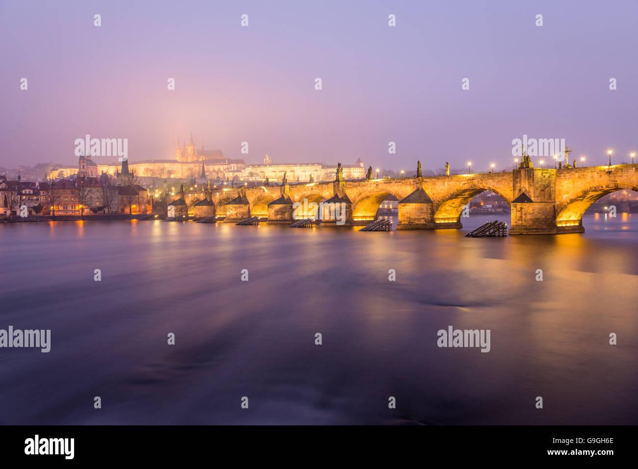 Prague Charles Bridge at Night - Stock Image