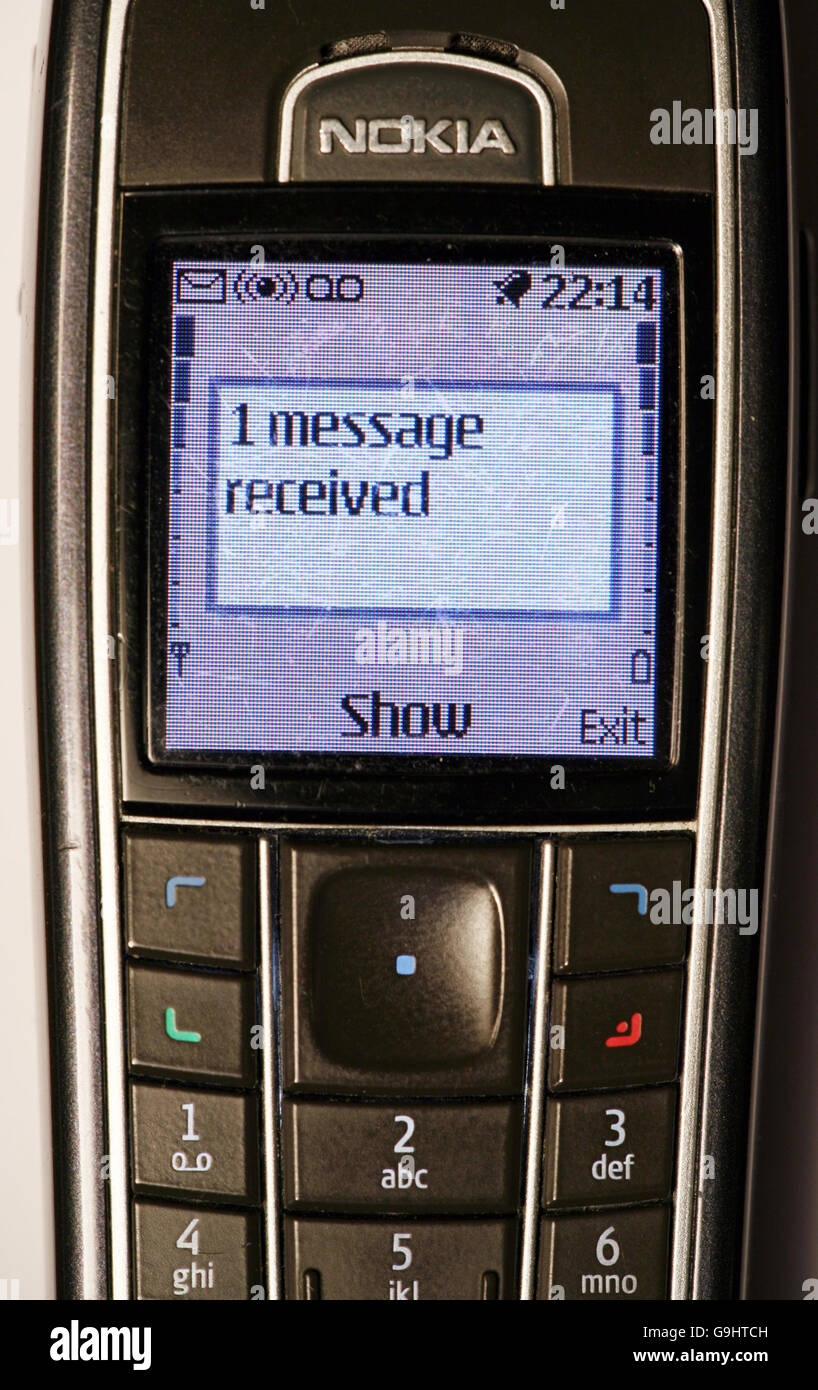 mobile phone with text message alert