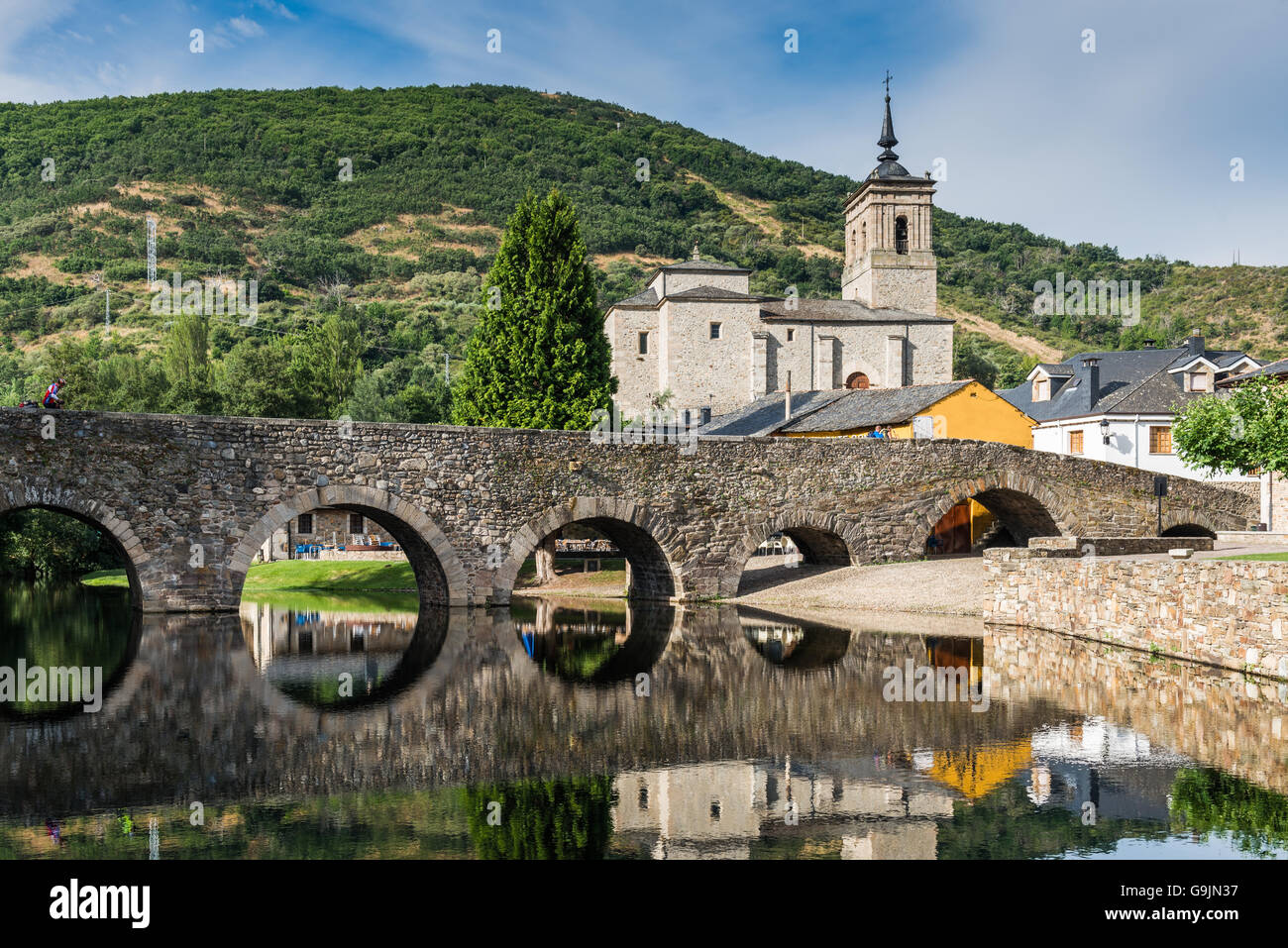 Bridge over the Meruelo river, created in times of the Ancient Rome. - Stock Image