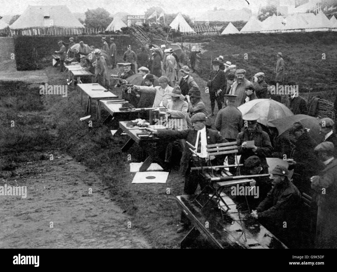 Shooting - London Olympic Games 1908 - Rapid-Fire Pistol - Bisley - Stock Image