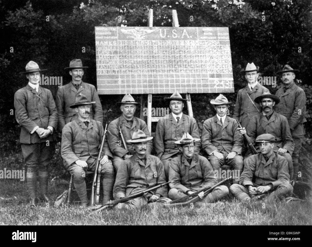 Shooting - London Olympic Games 1908 - Military Rifle - Team Competition - Bisley - Stock Image