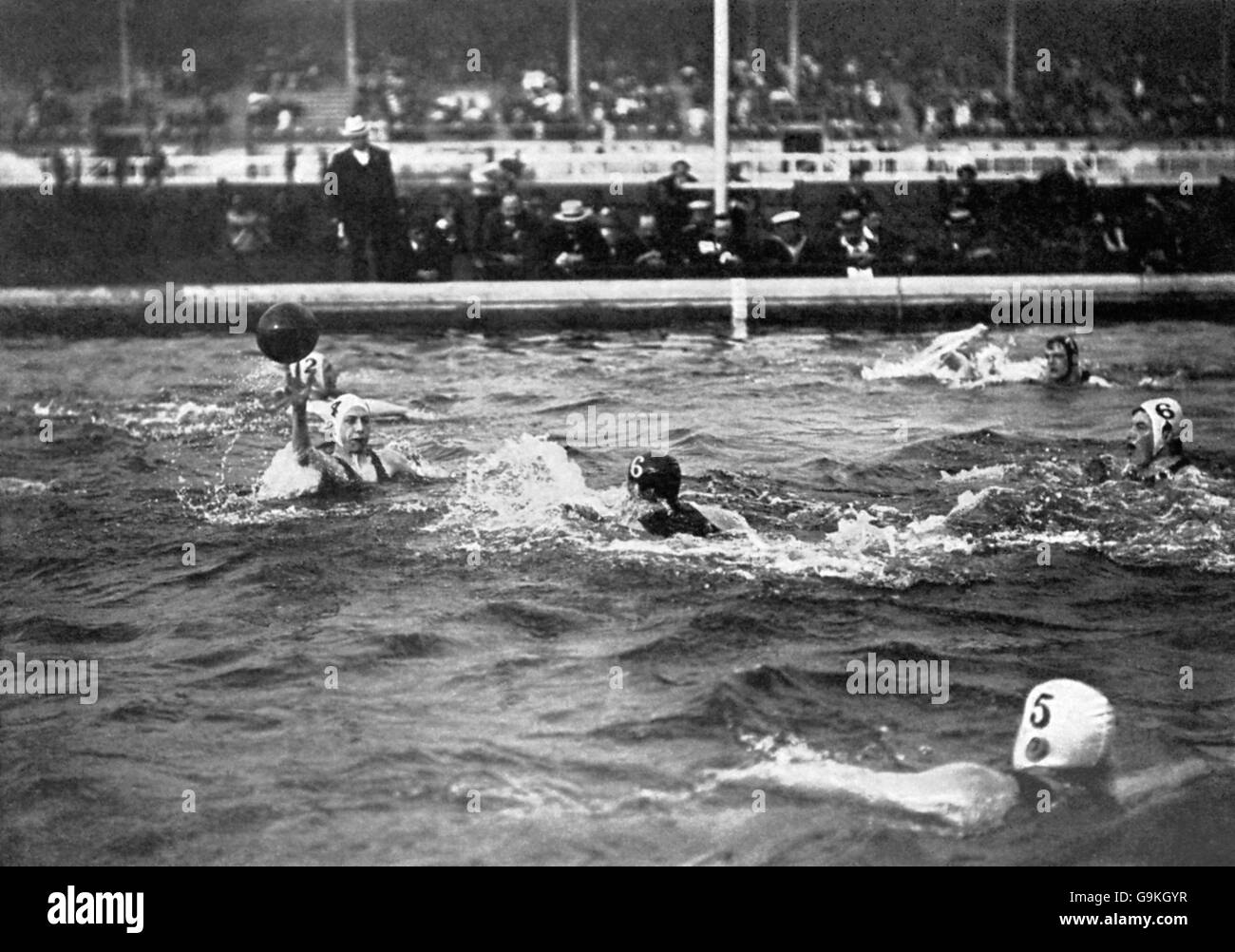Water Polo - London Olympic Games 1908 - Final - Great Britain v Belgium - White City - Stock Image