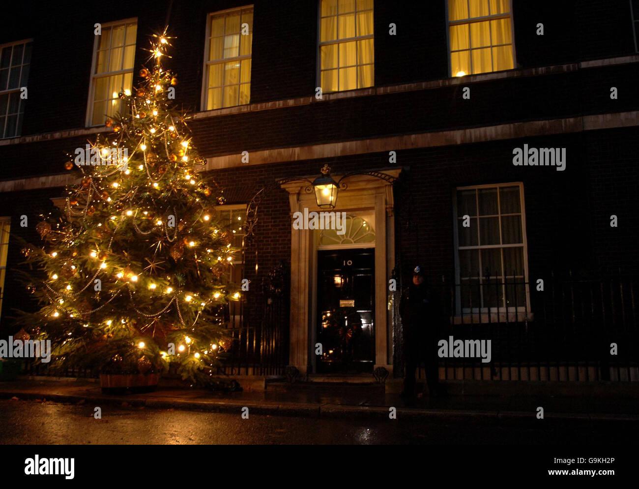 Downing Street Christmas lights Stock Photo