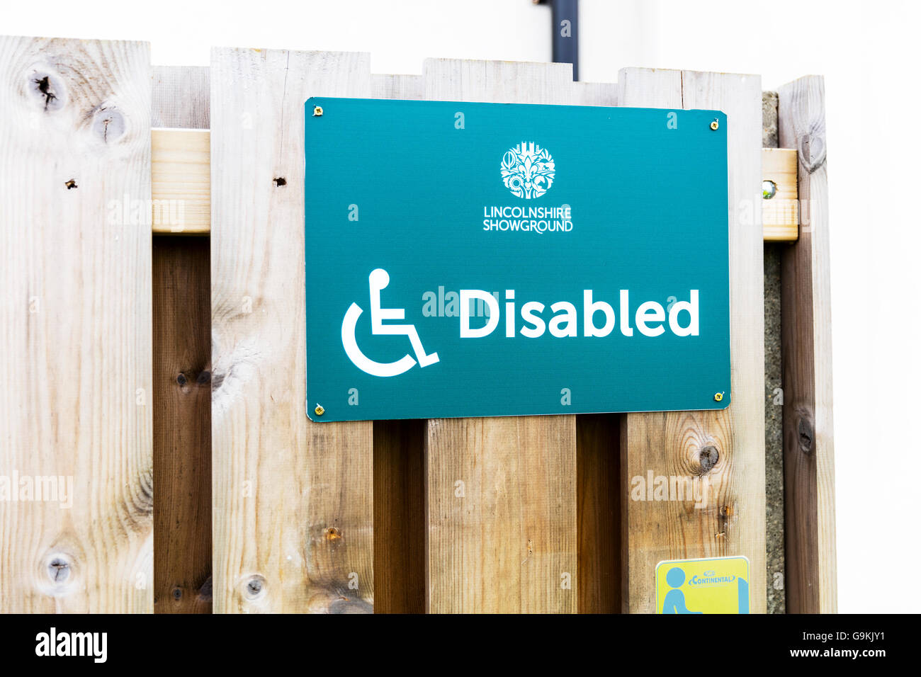 Disabled toilets sign for disabled people disability disabilities UK England GB - Stock Image