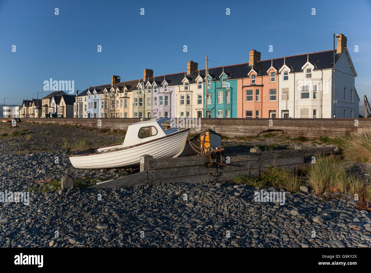 Old boats on beach Stock Photo