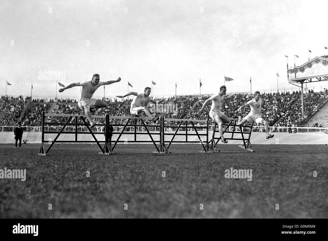 Athletics - London Olympic Games 1908 - 110m Hurdles - Final - White City - Stock Image