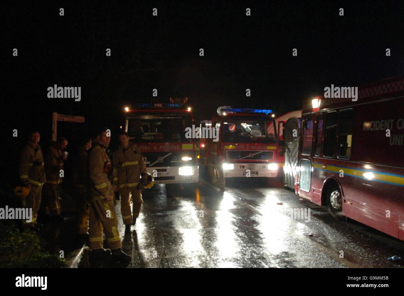 Firework factory fire - Stock Image
