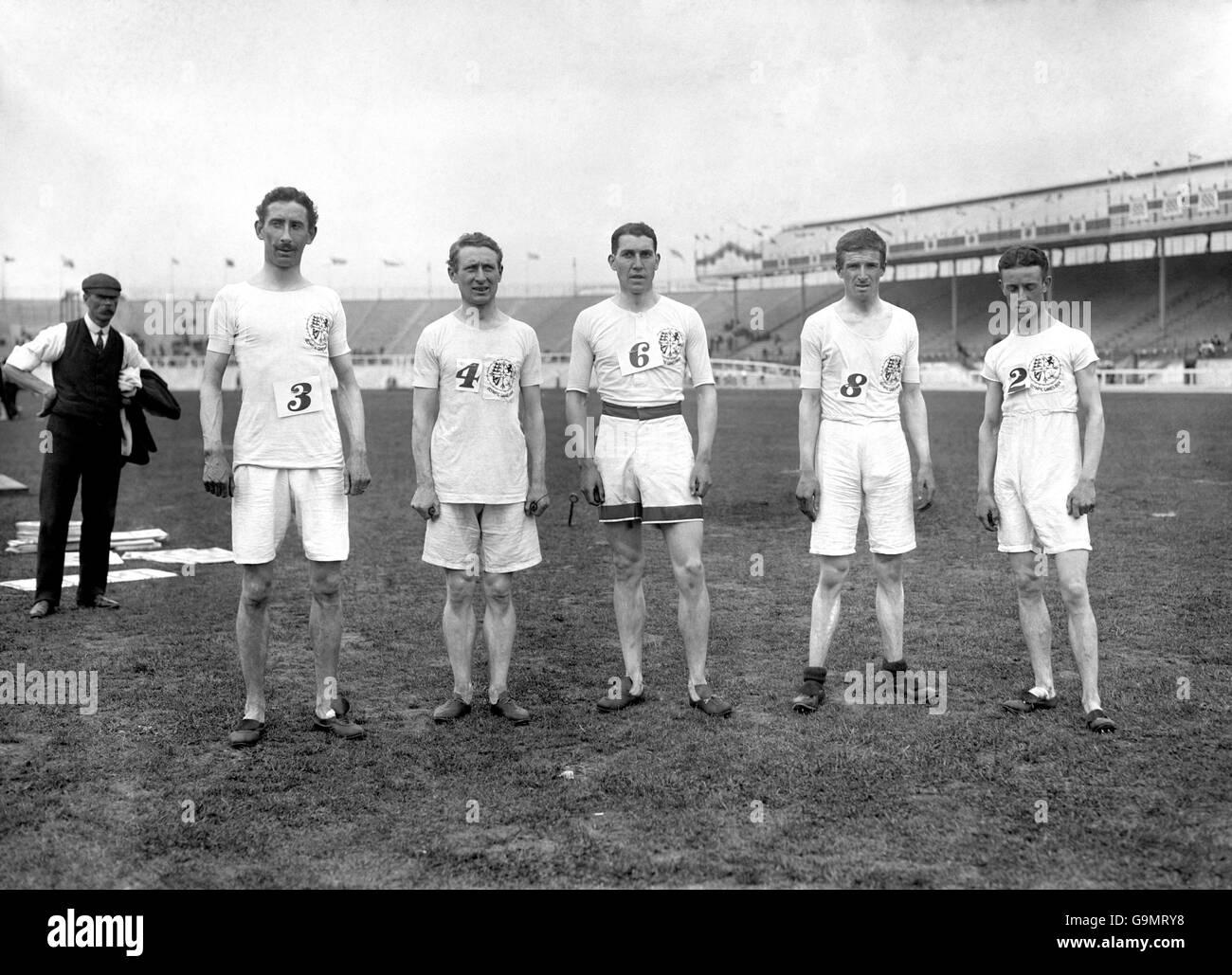Athletics - London Olympic Games 1908 - Three-Mile Team Race - White City - Stock Image