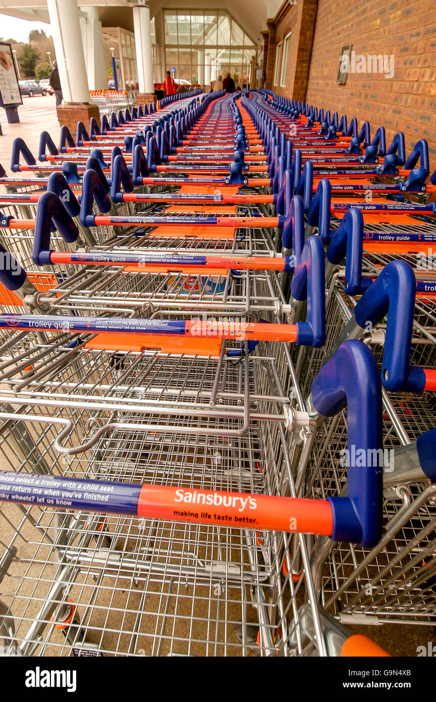 Scenes inside a Sainsbury's Superstore in southern England. - Stock Image