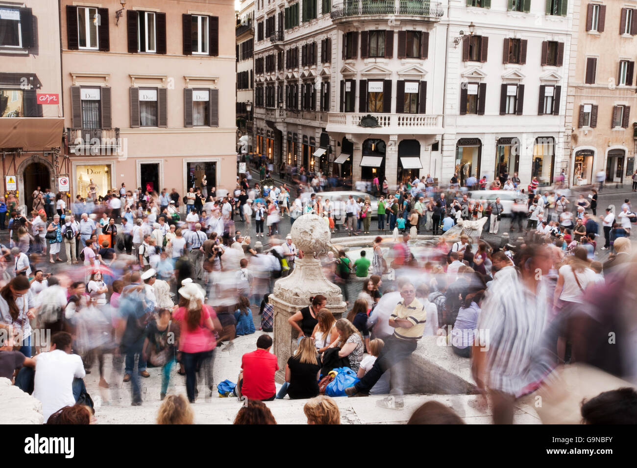 Long Exposure of People at Piazza di Spagna Rome, Italy, 26.9.2012: For Editorial Use Only! - Stock Image