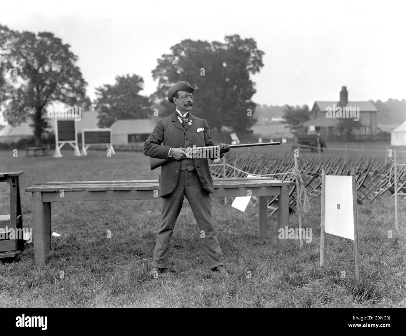Clay Pigeon Shooting - London Olympic Games 1908 - Individual Event - Uxendon Shooting School Club - Stock Image