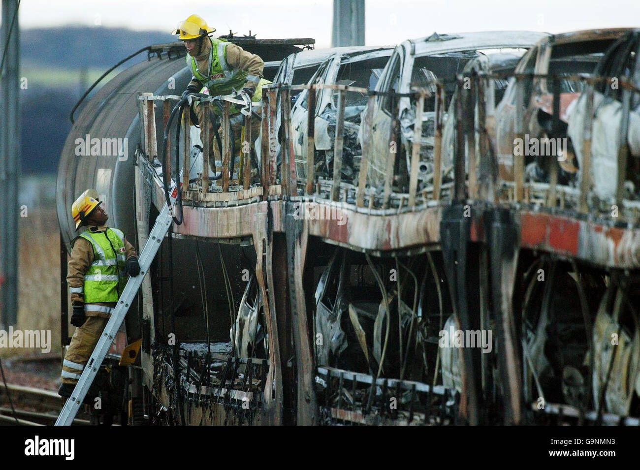 New cars destroyed in freight train fire - Stock Image