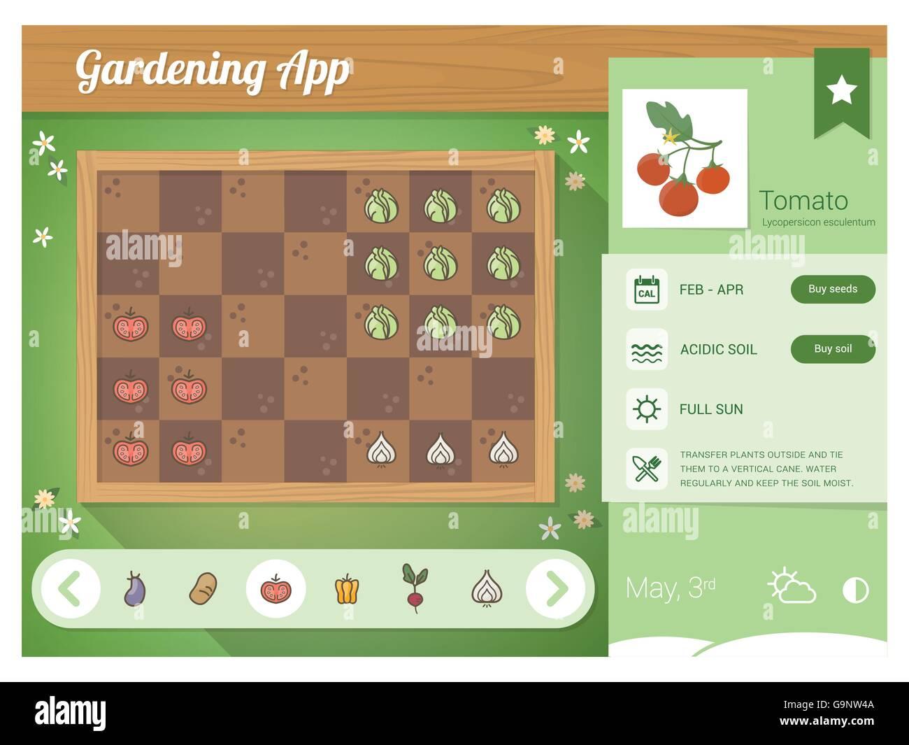 Garden planner app with vegetables nutrition sheet, rectangular ...