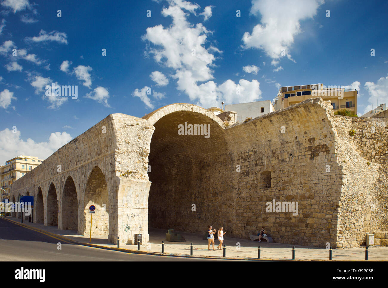 Remains of the Venetian shipyards or Arsenals in Heraklion, Crete. - Stock Image