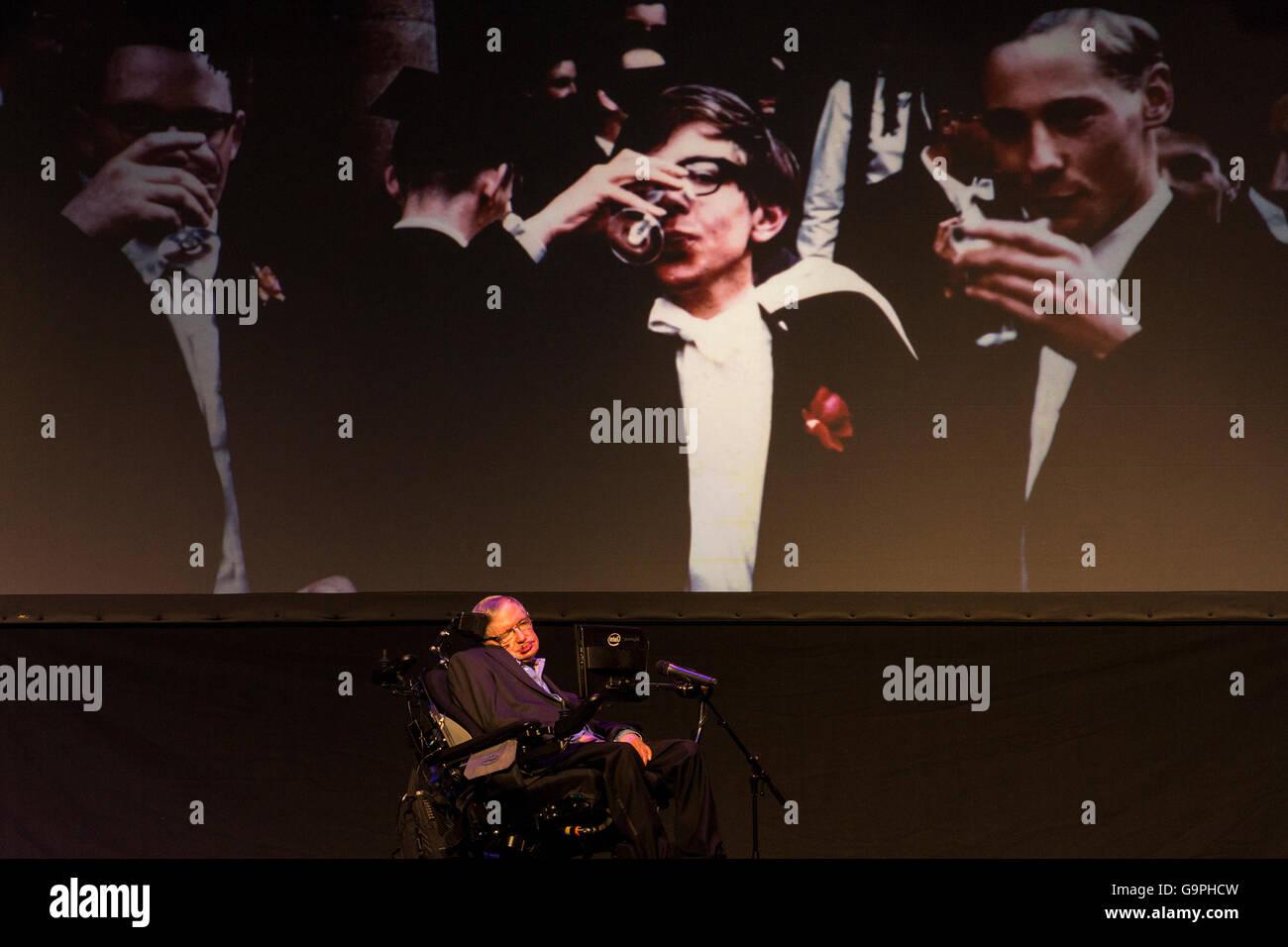 Professor Stephen Hawking speaking at the Starmus Festival 2016 in the Piramide de Arona, Las Americas, Tenerife, Stock Photo