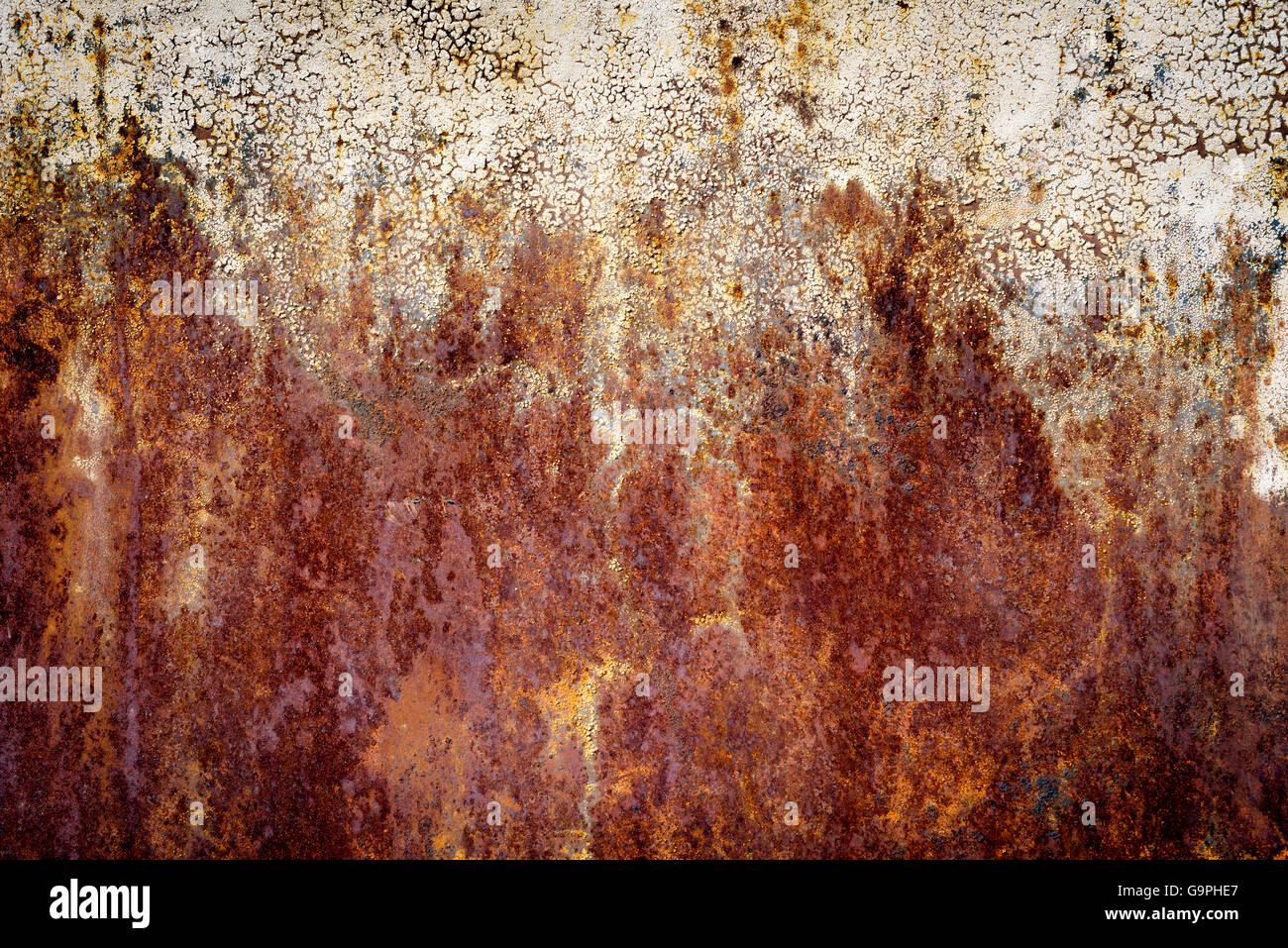 Very Old Dark Orange Rust Stains On An Aged Metal Surface The Patterns Are Formed By Heavy Oxidization