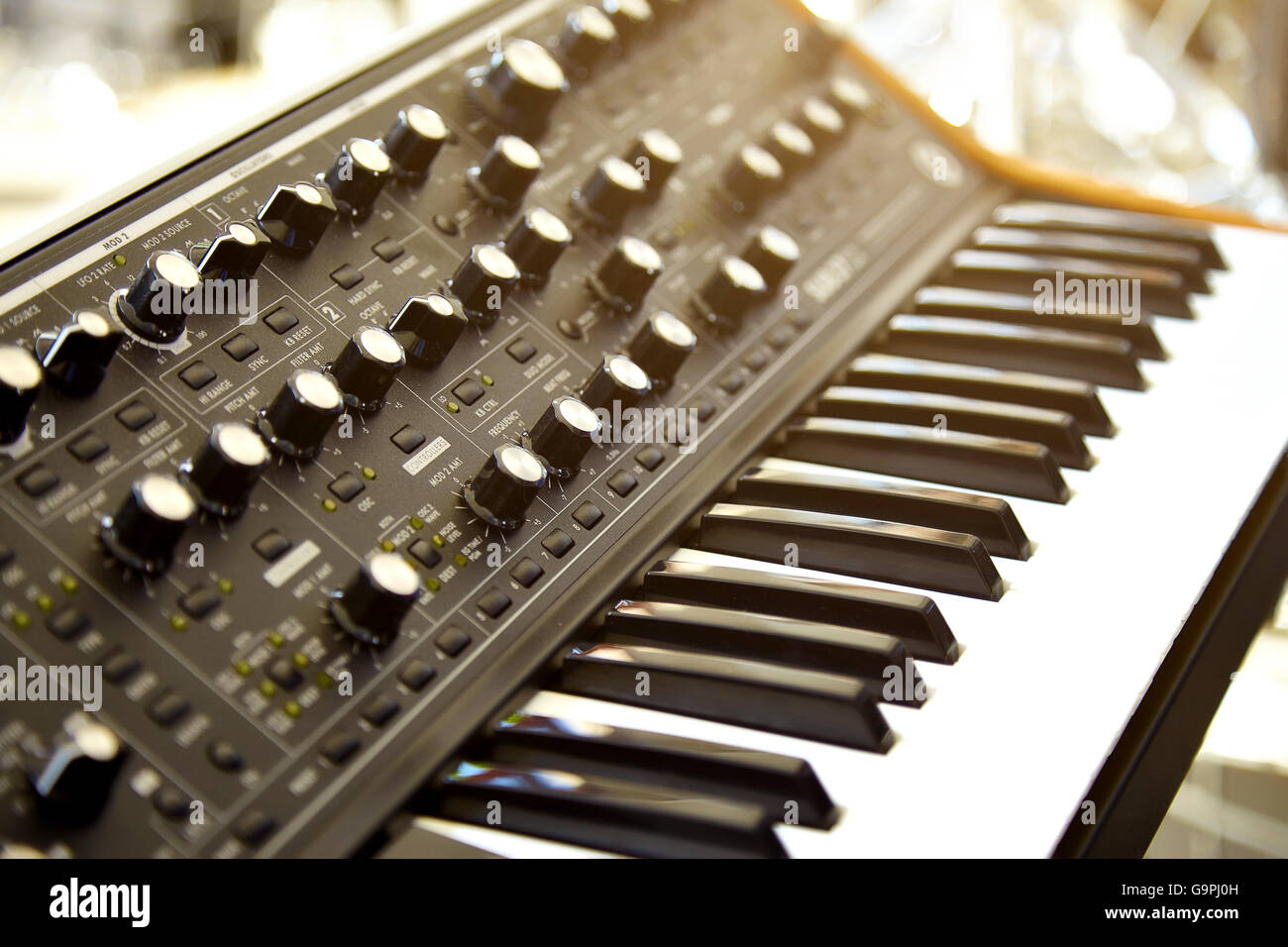 Keyboard synthesizer on stage before the concert - Stock Image