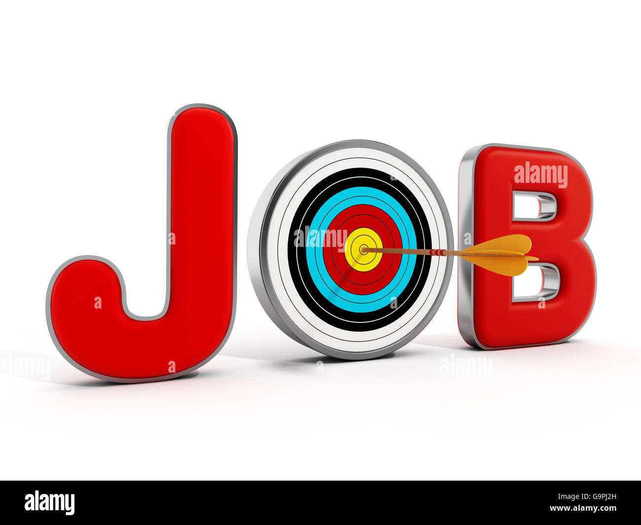 Target with an arrow standing between J and B letters. 3D illustration. Stock Photo