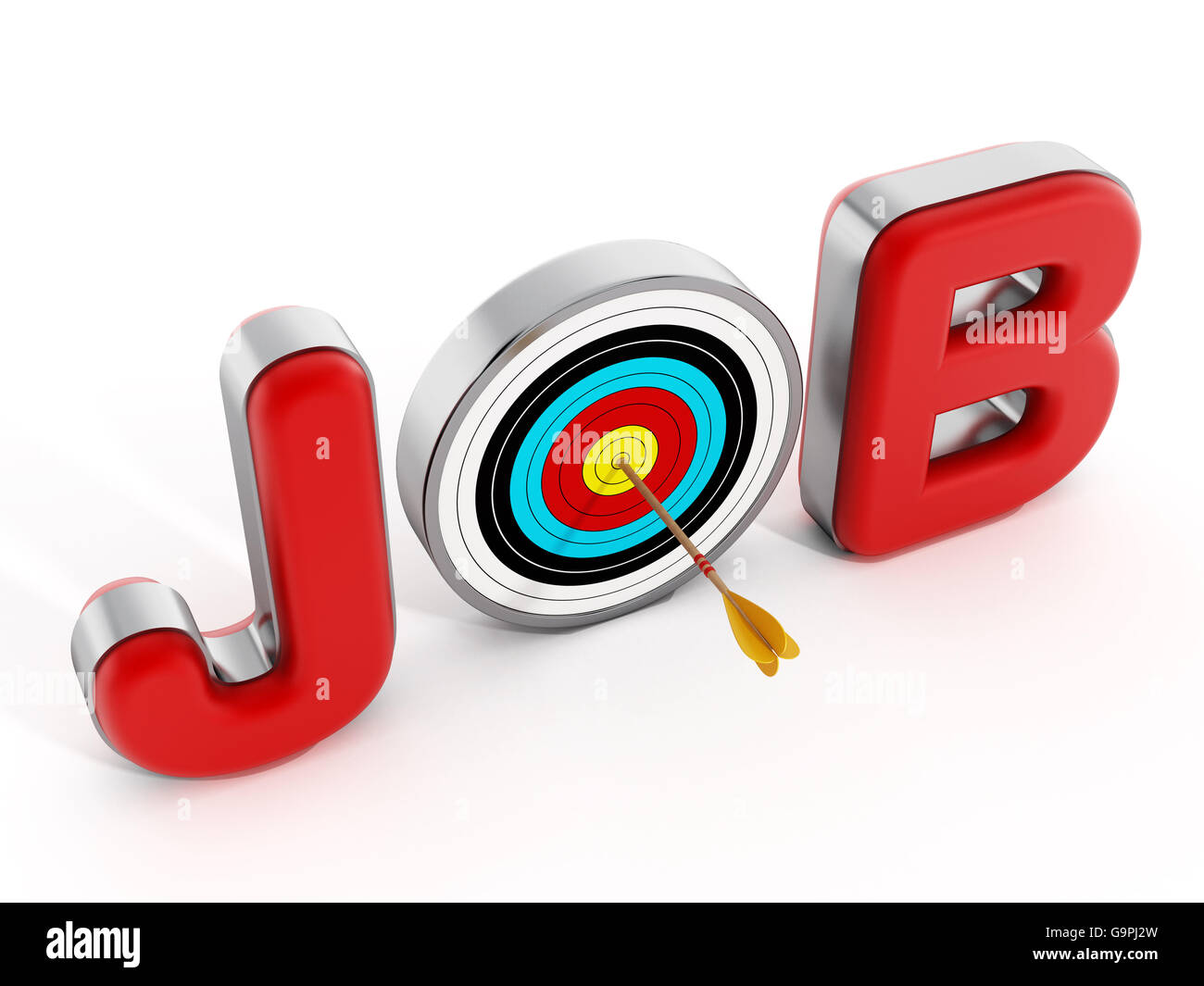 Target with an arrow standing between J and B letters. 3D illustration. - Stock Image