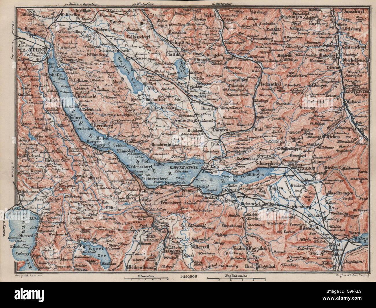 Lake Zurich Zuricher See Lachen Utznach Topo Map Switzerland Stock