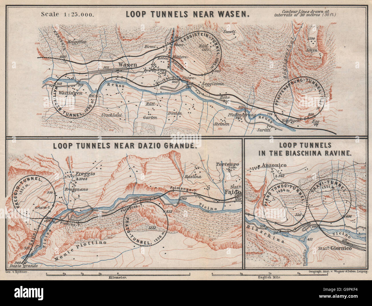 ST GOTTHARD RAILWAY SPIRAL/LOOP TUNNELS Wassen Freggio Prato Biaschina, 1889 map Stock Photo