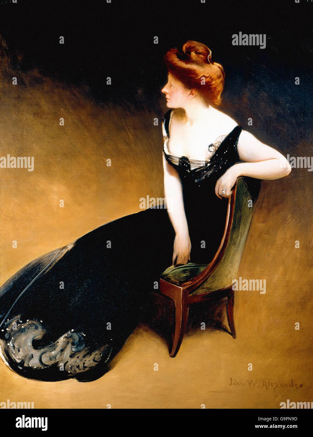 John White Alexander - Portrait of Mrs. V, Mrs. Herman Duryea - Stock Image
