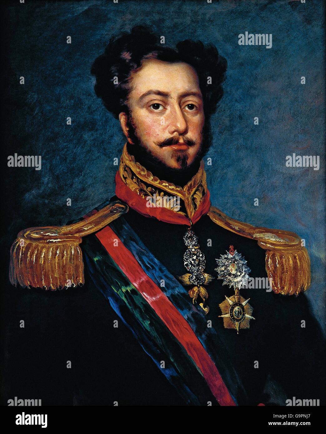 Portrait of Dom Pedro, Duke of Bragança edited - Stock Image