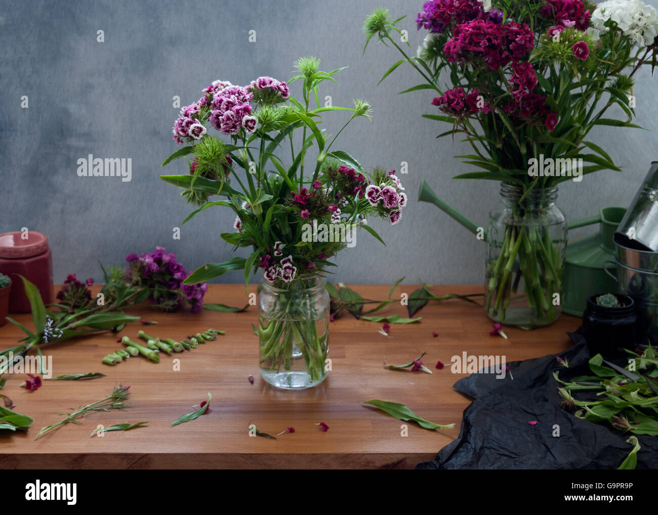 Lifestyle Floristry Image with Sweet William flowers - Stock Image