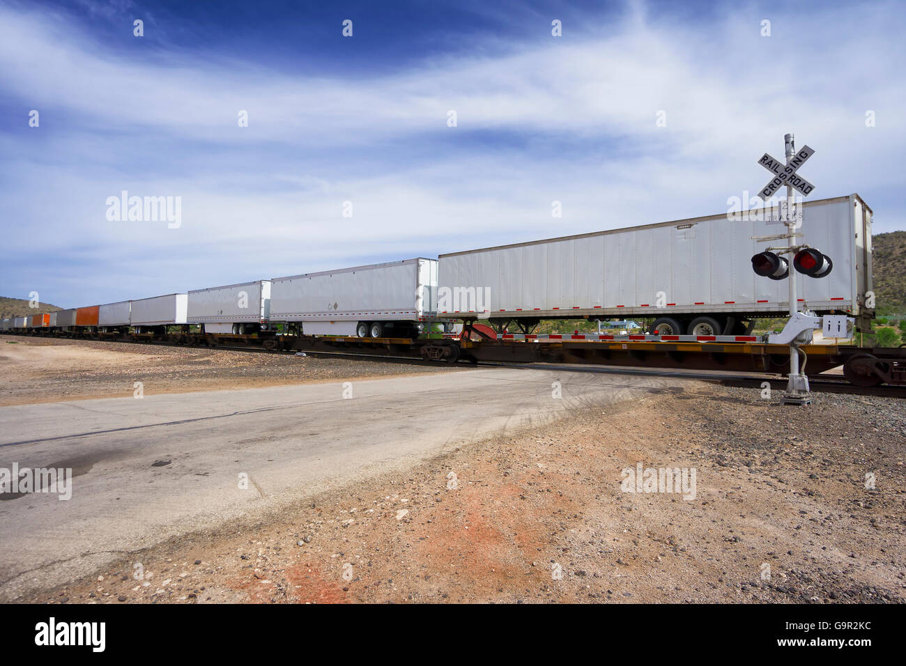 long cargo train moving goods - Stock Image
