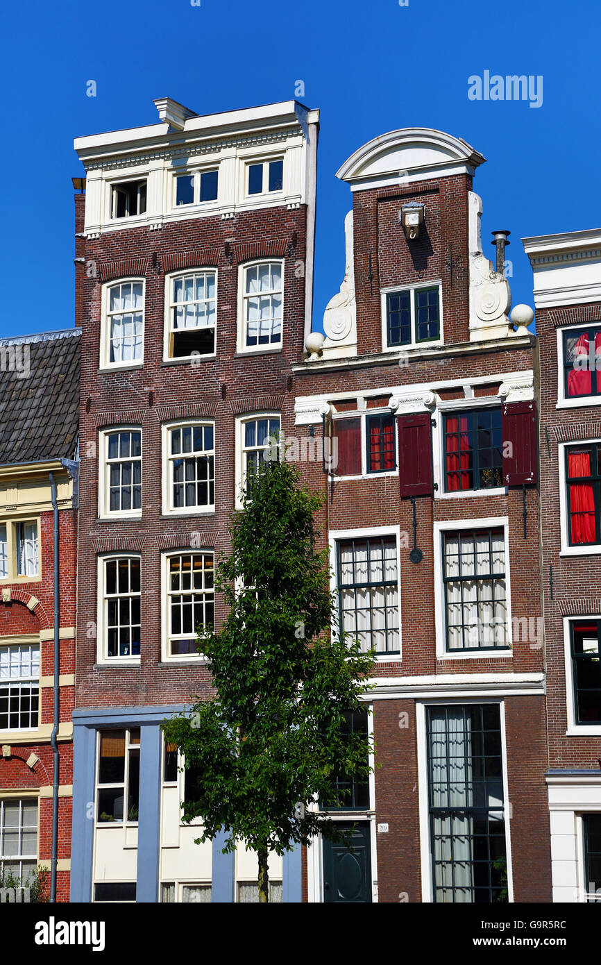 Traditional Dutch houses on the Singel Canal in Amsterdam, Holland Stock Photo