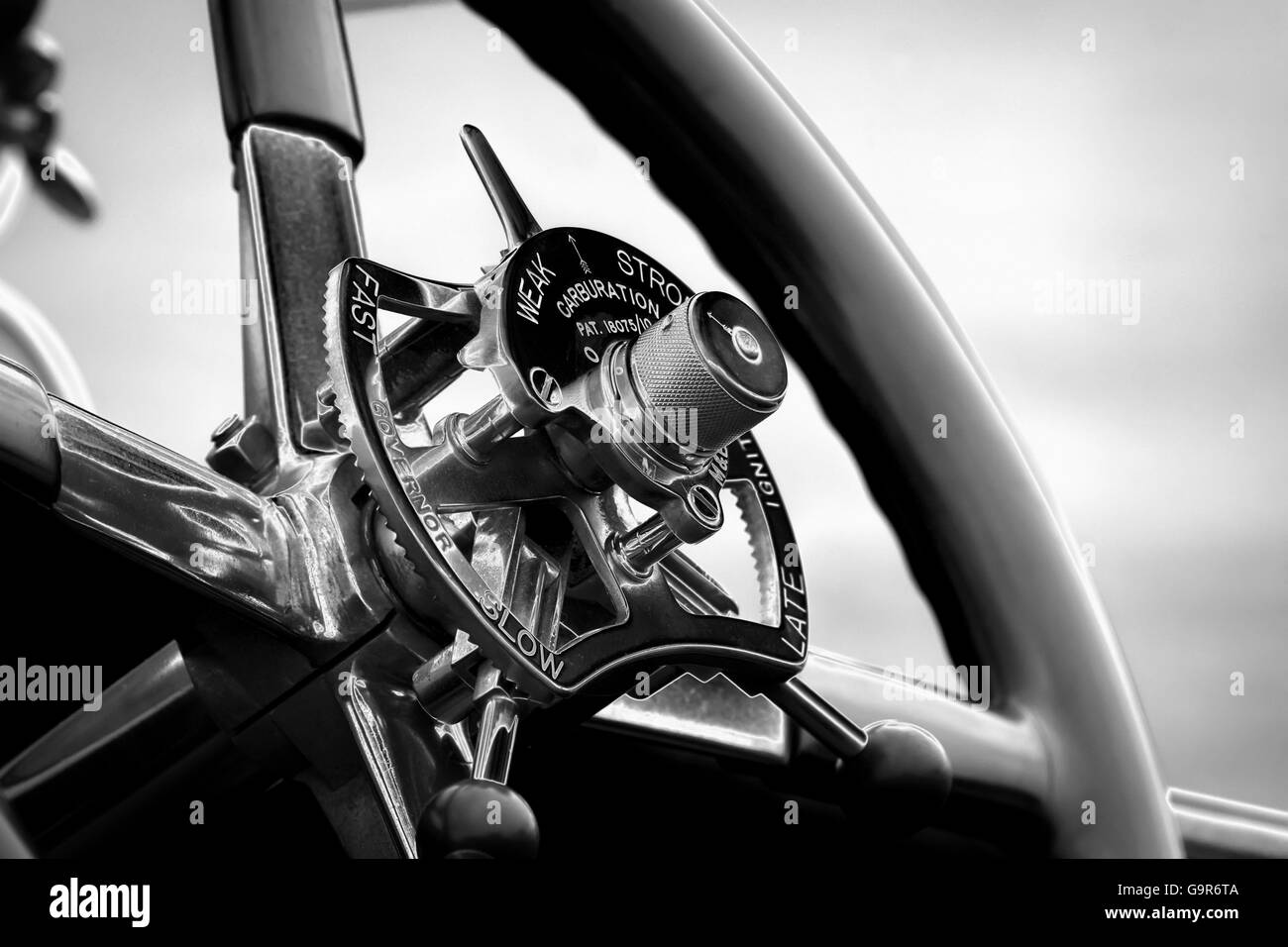 Steering wheel controls of a vintage Rolls Royce Car with a solarize