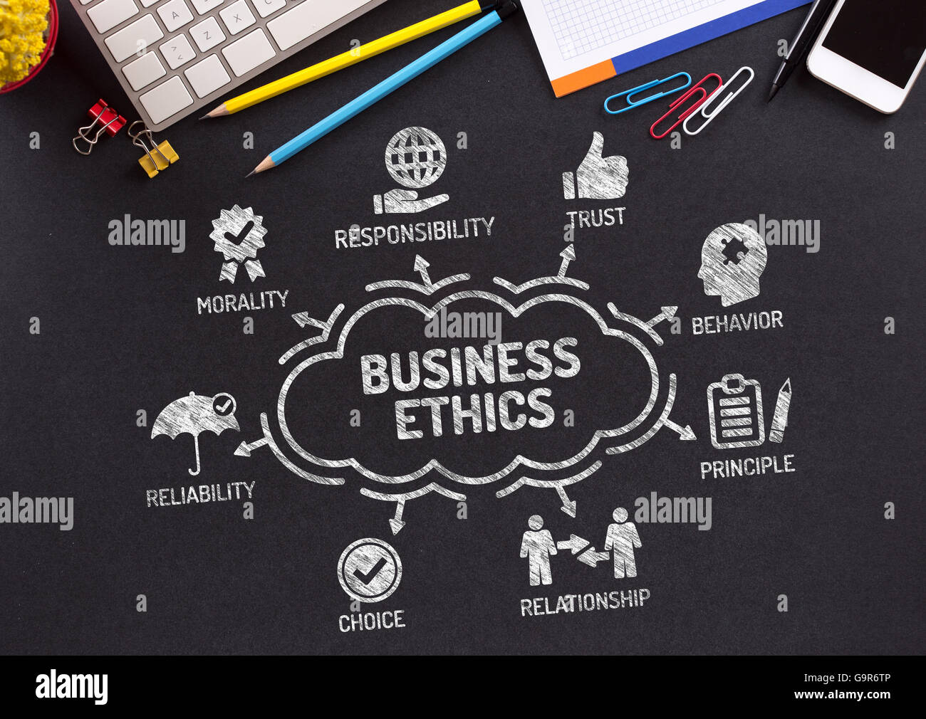 Business Ethics Chart with keywords and icons on blackboard - Stock Image