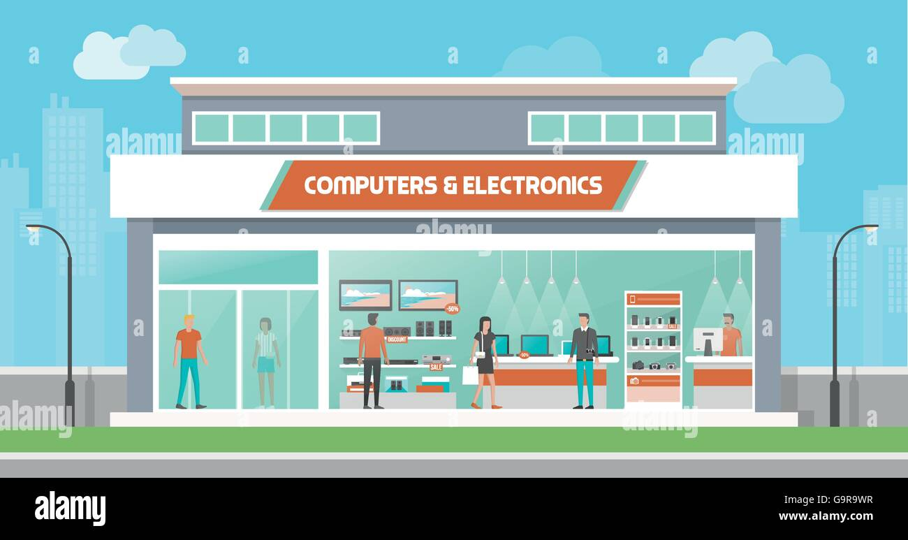 Computers and electronics store building and interior, laptops mobile phones and television screens showcase and - Stock Vector