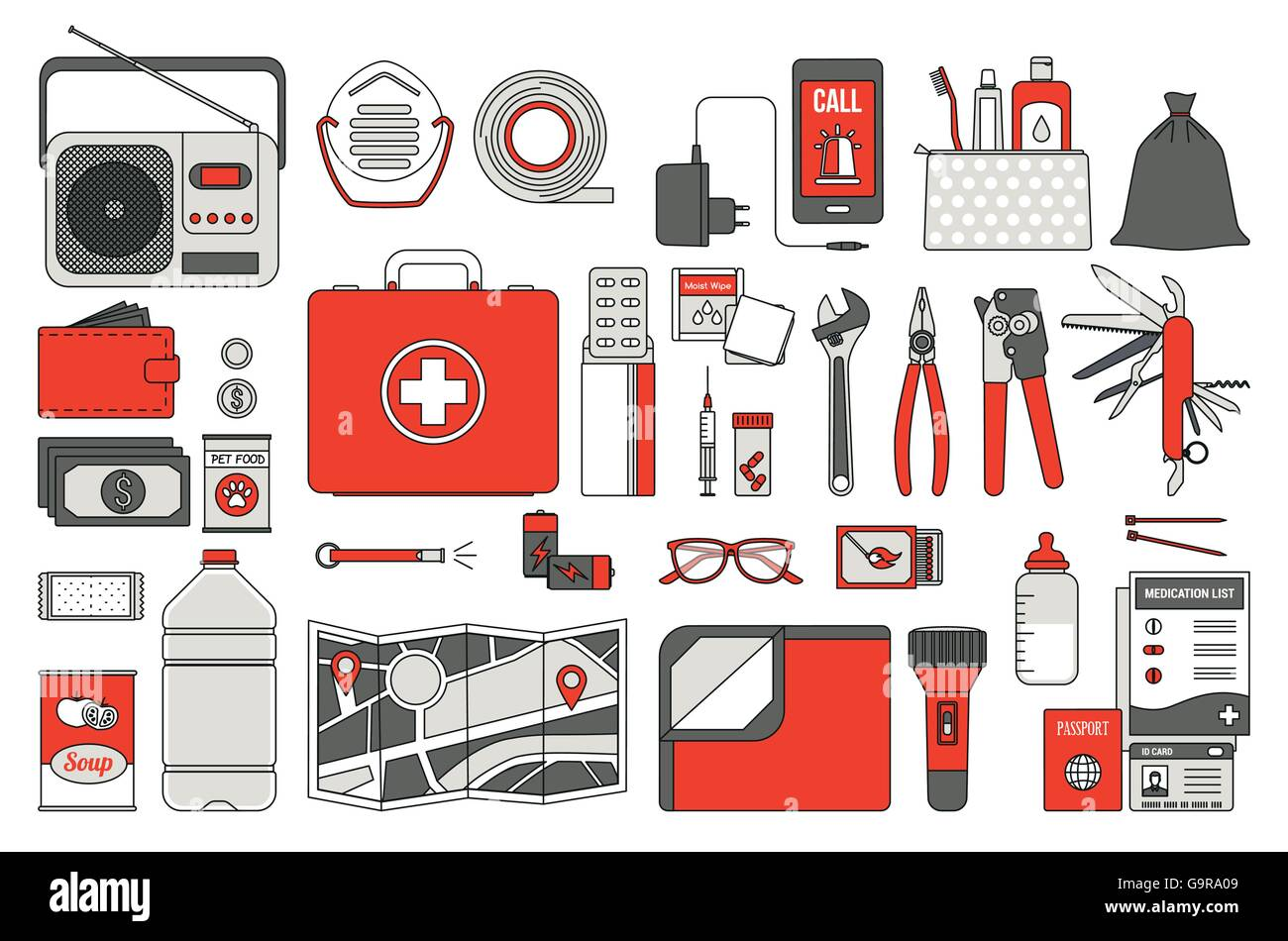 Survival emergency kit for evacuation, vector objects set on white background - Stock Image