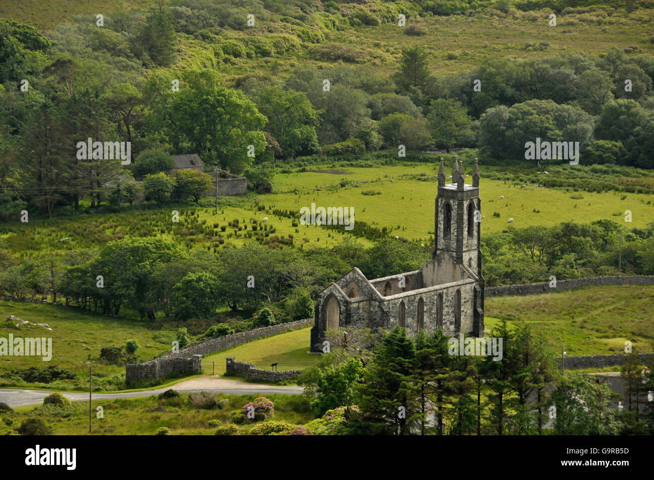 Old Church of Dunlewey, County Donegal, Ireland / Dunlewy, ruin - Stock Image