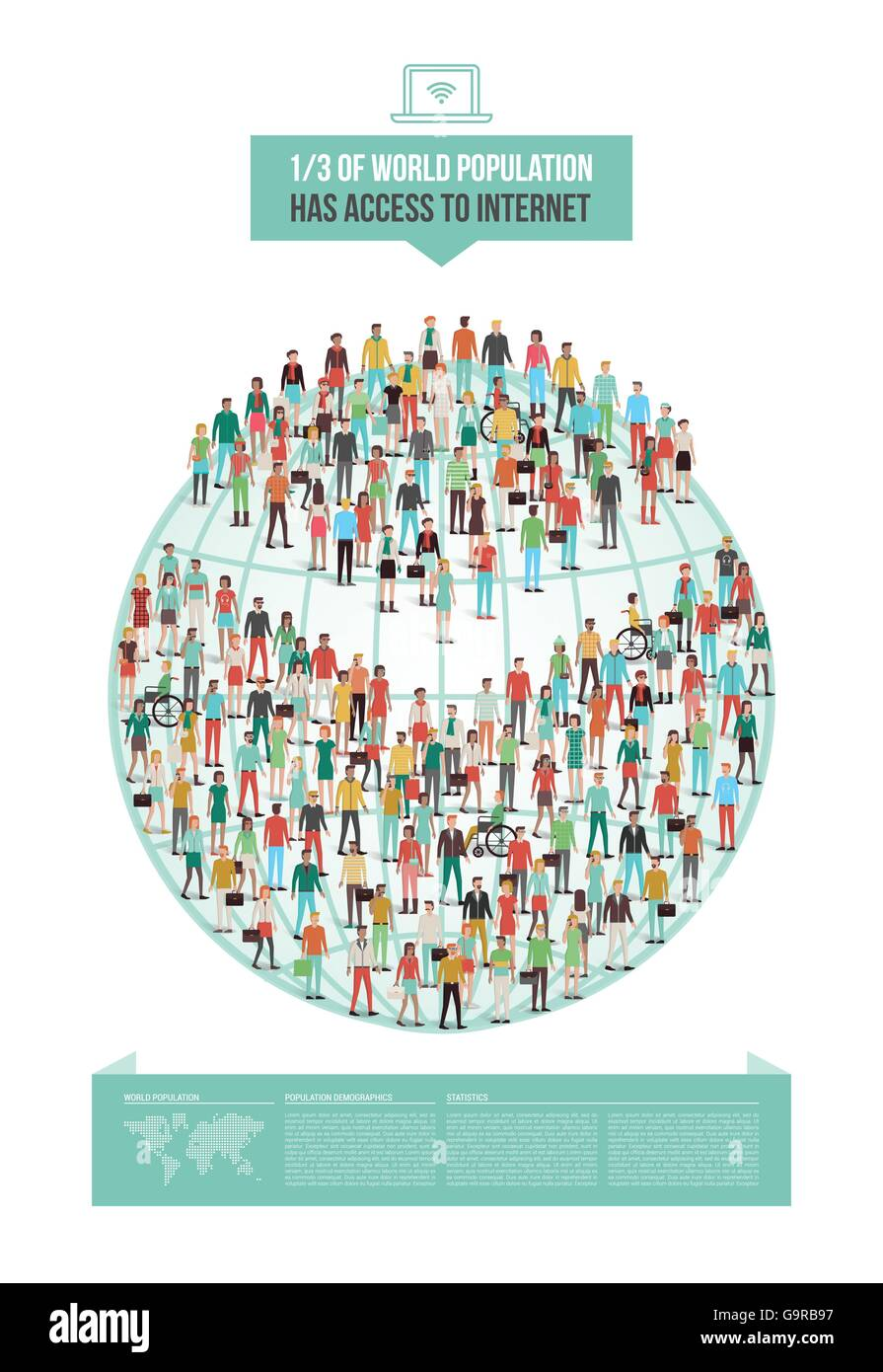 Global internet usage statistic demographics, pie chart composed of people, vector infographic - Stock Image