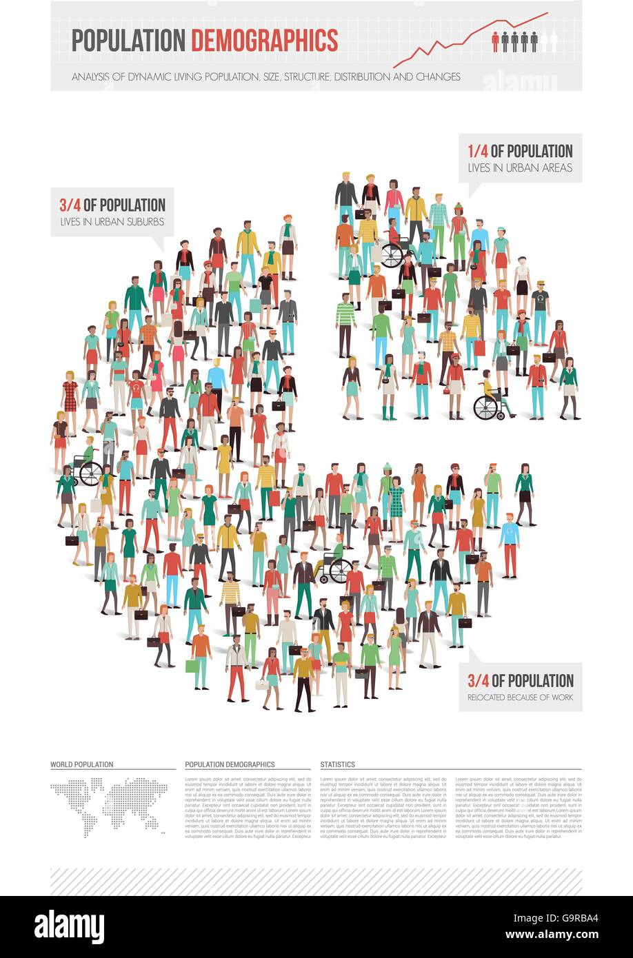 Population Demographics Infographic World Map Stock Photos
