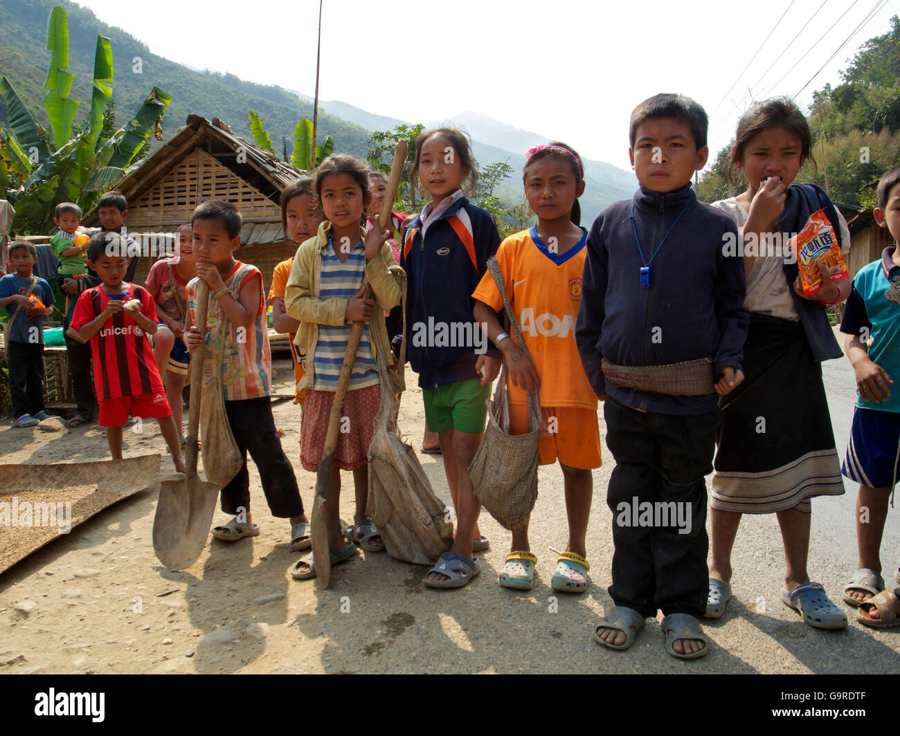 children in village at Mekong river, province Oudomxay, Laos, Asia Stock Photo