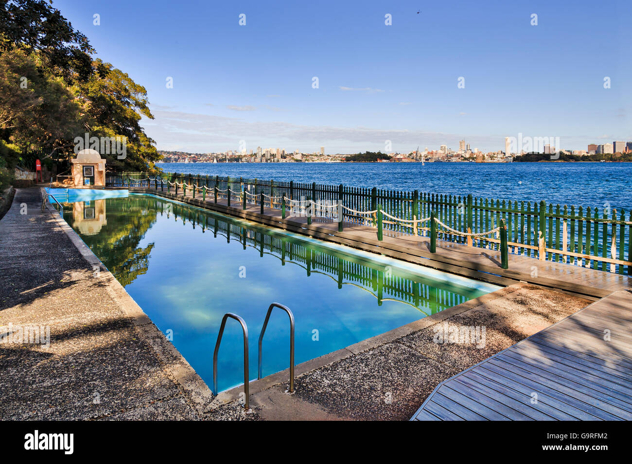Public communal rock pool at Cremorne on a shore of Sydney harbour. Recreational sports venue for local residents - Stock Image
