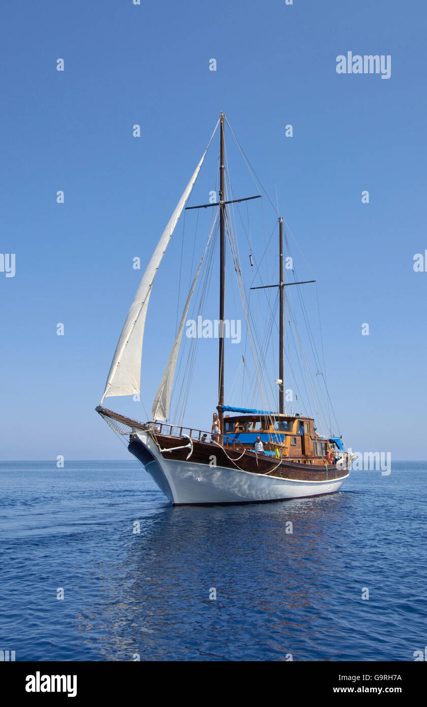 Sailing vessel, gulet, brigantine, jib, head sail, Mediterranean Sea - Stock Image