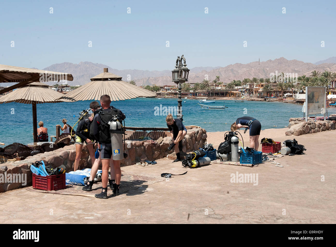Divers, equipment, diving gear, scuba diving, Dahab, South Sinai Governorate, Egypt - Stock Image