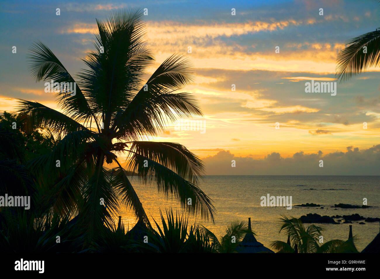 Sunset / Mauritius, Africa, Indian Ocean - Stock Image