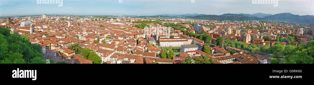 Brescia - The outlook over the Town from castle - panorama. - Stock Image