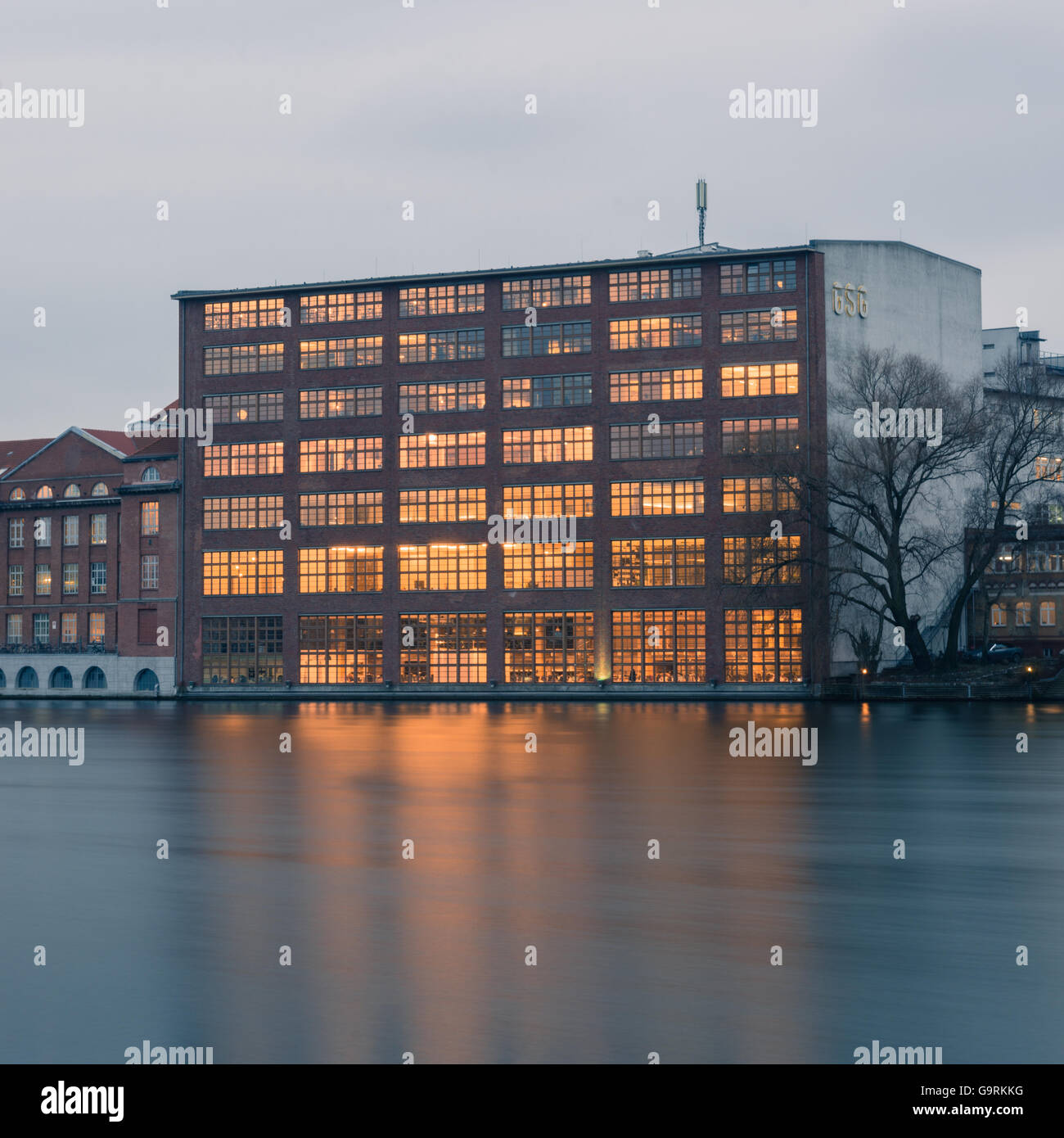 Berlin, Germany. January 15, 2014. Business Buildings located at Berlins River Spree. Longtime Exposure, HDR Look. - Stock Image