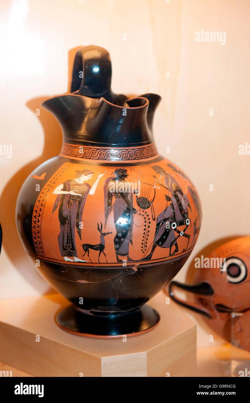 ancient greek vase with black figures, Gregorian Etruscan Museum, Vatican museums, Vatican, Rome, Lazio, Latium, - Stock Image