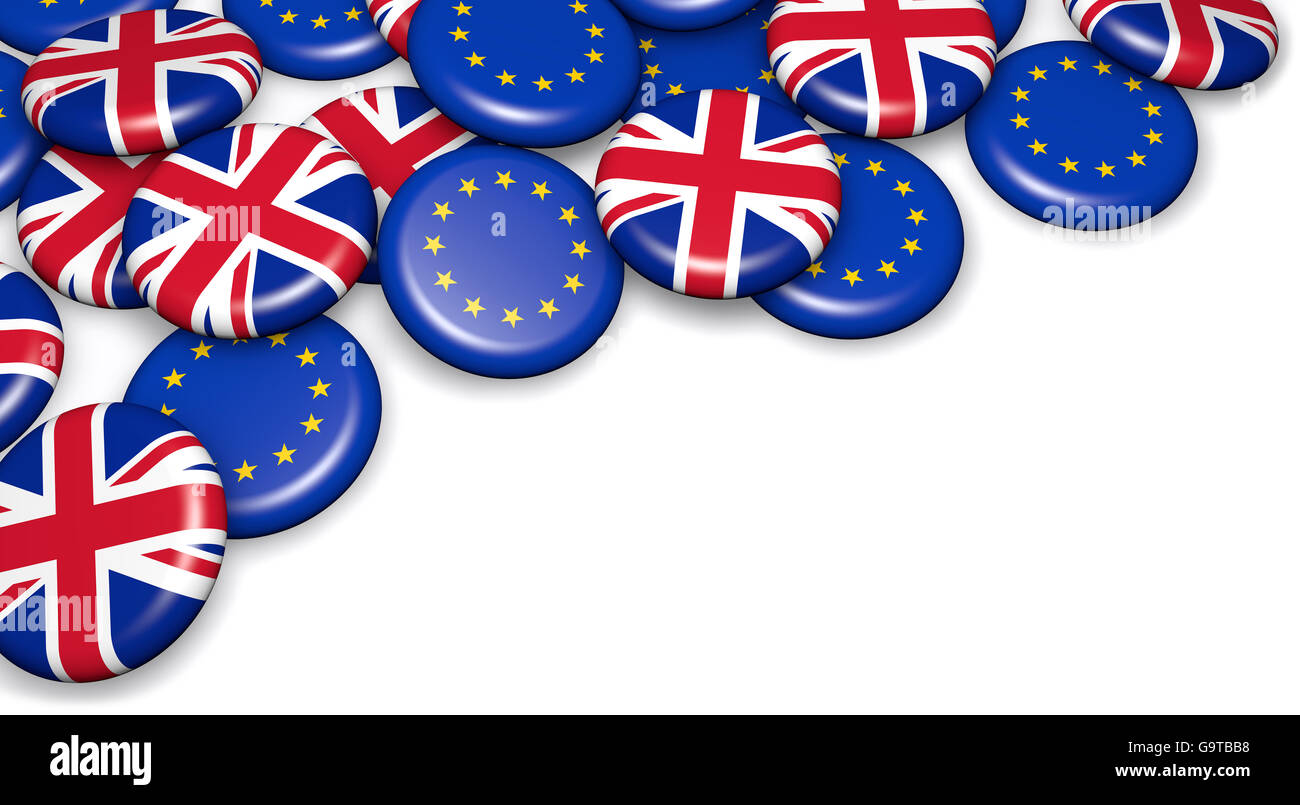 Brexit British referendum concept with UK and EU flag on campain pin badges 3D illustration on white background. Stock Photo