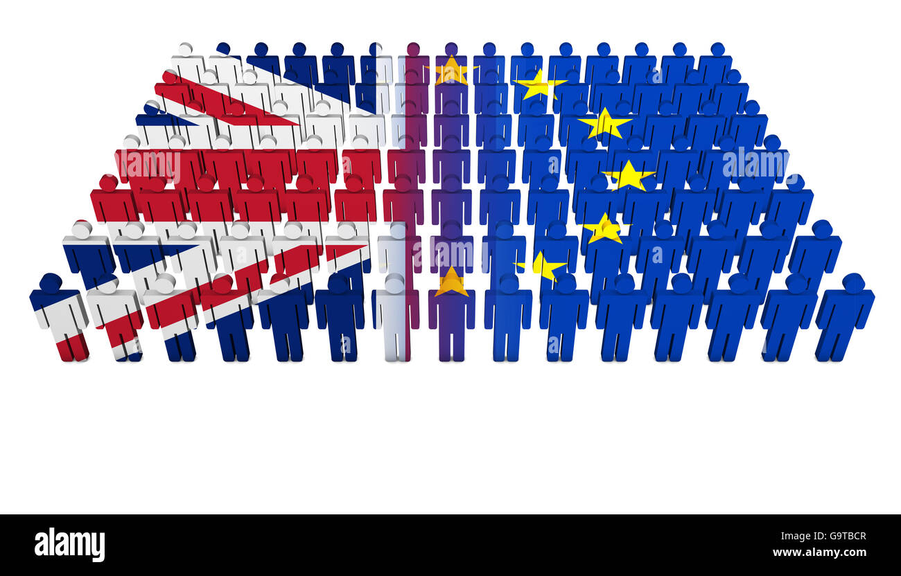 Brexit British referendum concept with Union Jack and EU flag on a splitted people parade 3D illustration on white Stock Photo